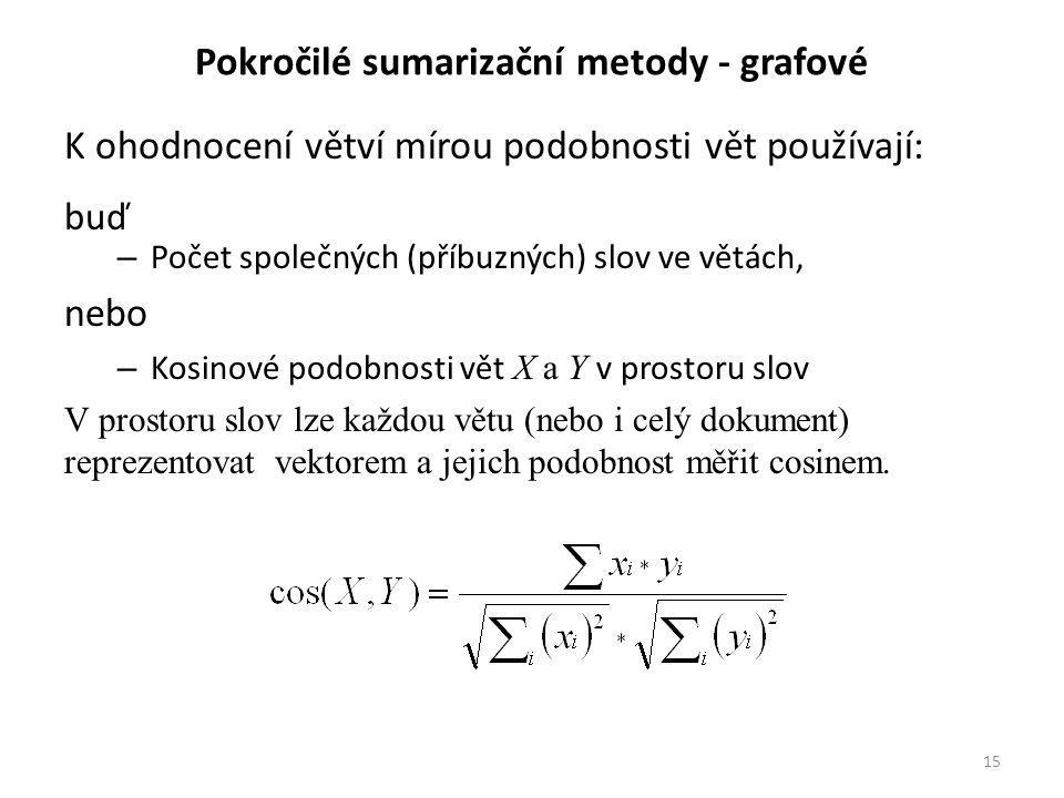 Pokročilé sumarizační metody - grafové K ohodnocení větví mírou podobnosti vět používají: buď – Počet společných (příbuzných) slov ve větách, nebo – Kosinové podobnosti vět X a Y v prostoru slov V prostoru slov lze každou větu (nebo i celý dokument) reprezentovat vektorem a jejich podobnost měřit cosinem.