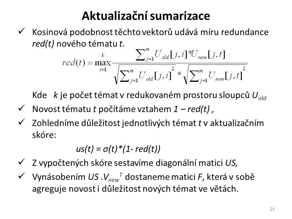 Aktualizační sumarizace Kosinová podobnost těchto vektorů udává míru redundance red(t) nového tématu t.