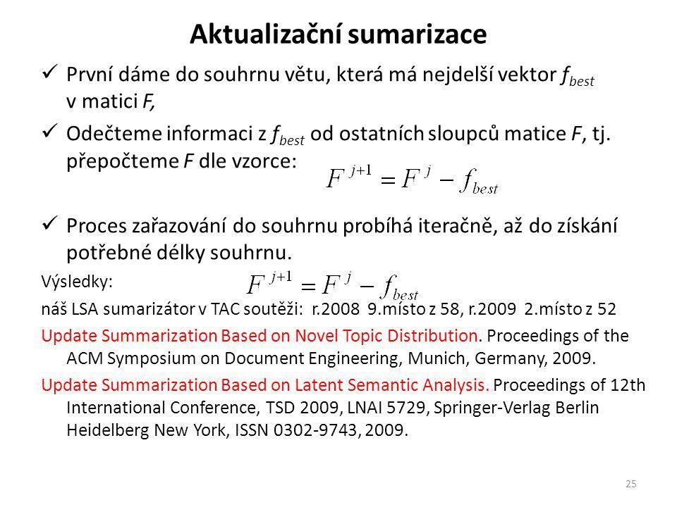Aktualizační sumarizace První dáme do souhrnu větu, která má nejdelší vektor f best v matici F, Odečteme informaci z f best od ostatních sloupců matice F, tj.