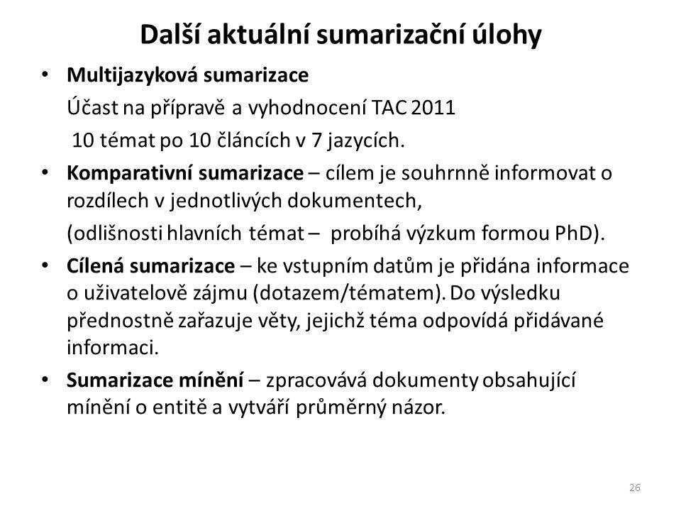 Další aktuální sumarizační úlohy Multijazyková sumarizace Účast na přípravě a vyhodnocení TAC 2011 10 témat po 10 článcích v 7 jazycích.