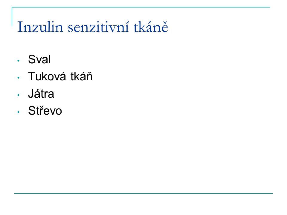 Inzulin senzitivní tkáně Sval Tuková tkáň Játra Střevo