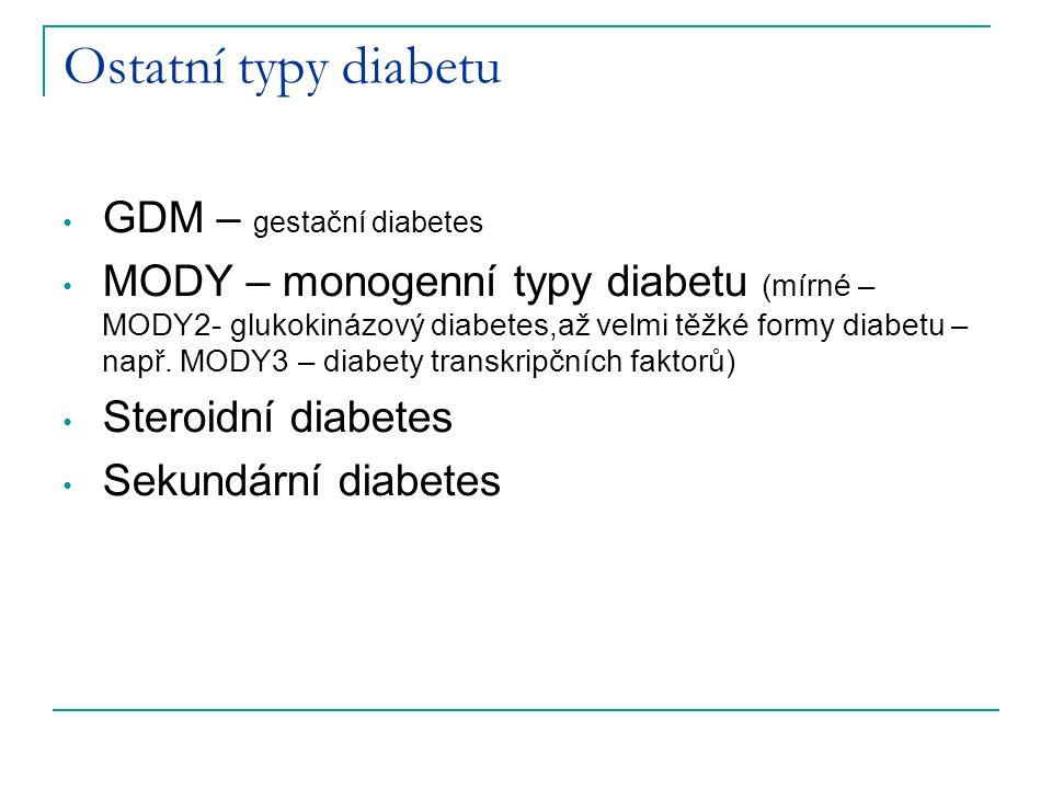 Ostatní typy diabetu GDM – gestační diabetes MODY – monogenní typy diabetu (mírné – MODY2- glukokinázový diabetes,až velmi těžké formy diabetu – např.