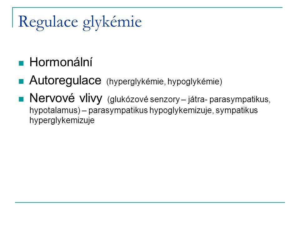 Regulace glykémie Hormonální Autoregulace (hyperglykémie, hypoglykémie) Nervové vlivy (glukózové senzory – játra- parasympatikus, hypotalamus) – paras