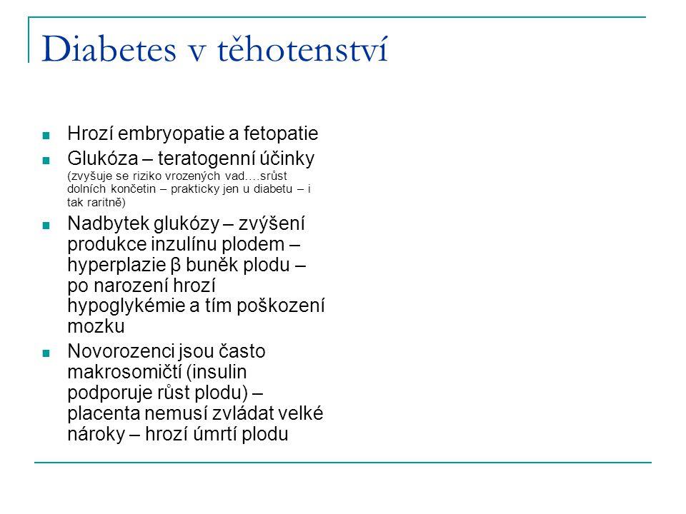 Diabetes v těhotenství Hrozí embryopatie a fetopatie Glukóza – teratogenní účinky (zvyšuje se riziko vrozených vad….srůst dolních končetin – prakticky