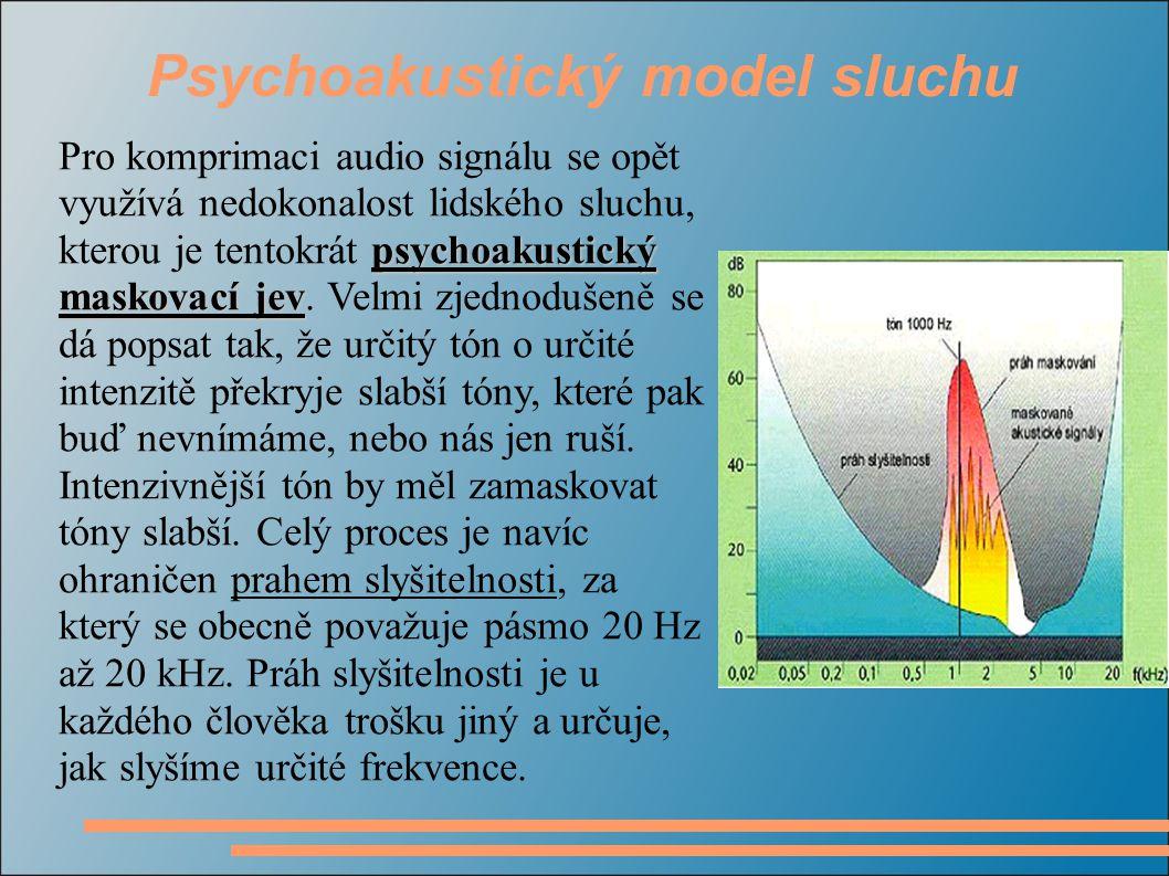 Psychoakustický model sluchu psychoakustický maskovací jev Pro komprimaci audio signálu se opět využívá nedokonalost lidského sluchu, kterou je tentok