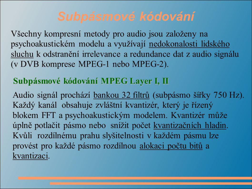 Subpásmové kódování Audio signál prochází bankou 32 filtrů (subpásmo šířky 750 Hz). Každý kanál obsahuje zvláštní kvantizér, který je řízený blokem FF