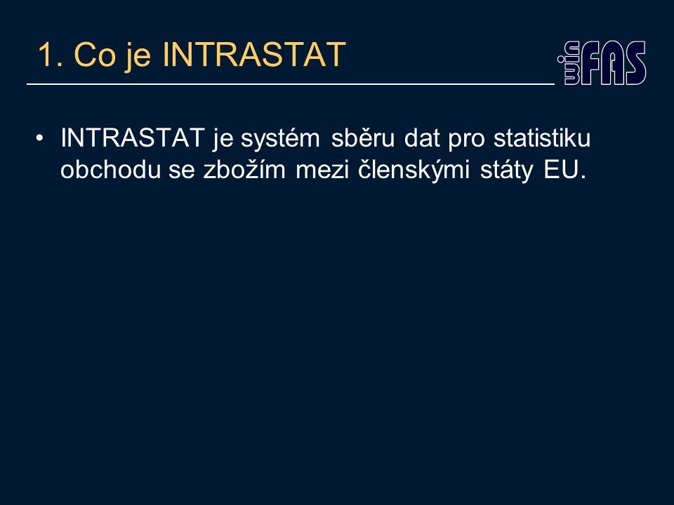 1. Co je INTRASTAT INTRASTAT je systém sběru dat pro statistiku obchodu se zbožím mezi členskými státy EU.
