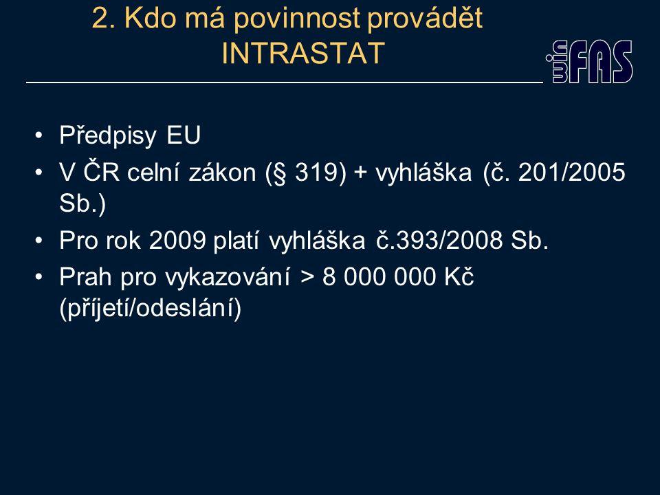 2. Kdo má povinnost provádět INTRASTAT Předpisy EU V ČR celní zákon (§ 319) + vyhláška (č.