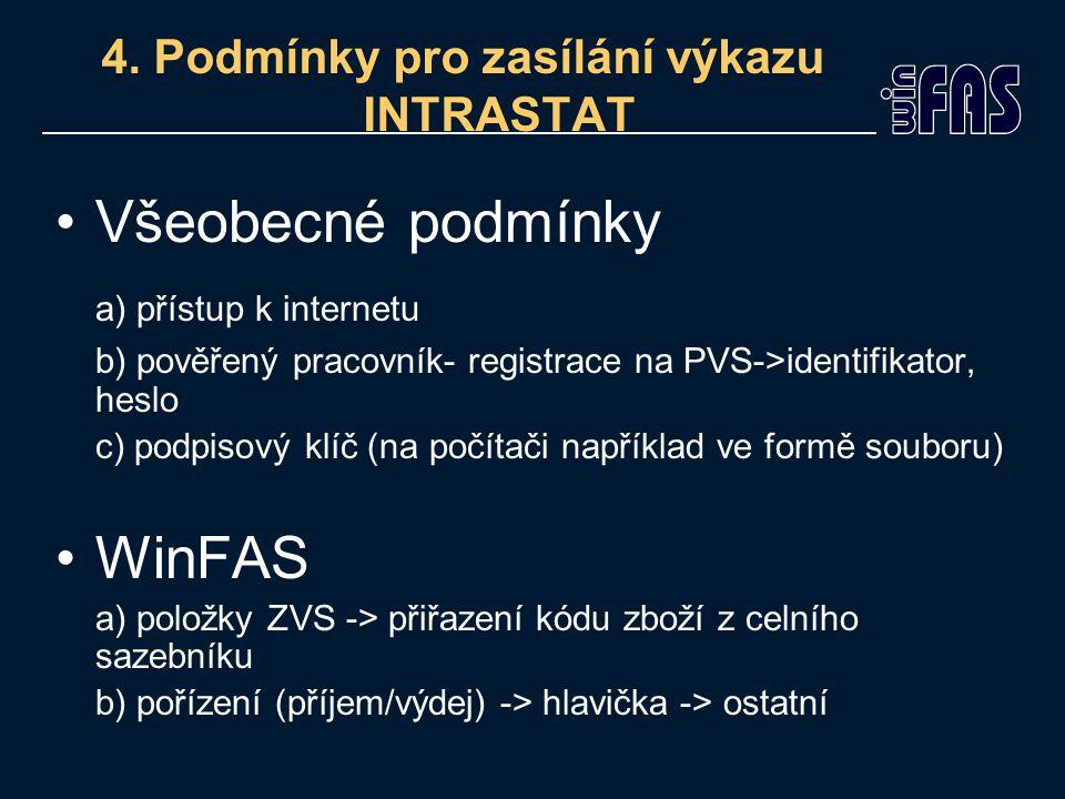 4. Podmínky pro zasílání výkazu INTRASTAT Všeobecné podmínky a) přístup k internetu b) pověřený pracovník- registrace na PVS->identifikator, heslo c)