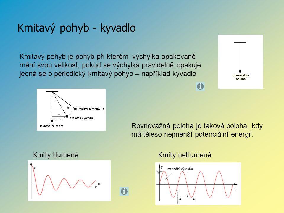 Kmitavý pohyb - kyvadlo Kmitavý pohyb je pohyb při kterém výchylka opakovaně mění svou velikost, pokud se výchylka pravidelně opakuje jedná se o perio