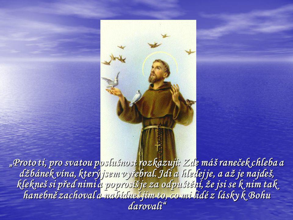 """""""Proto ti, pro svatou poslušnost rozkazuji: Zde máš raneček chleba a džbánek vína, který jsem vyřebral."""