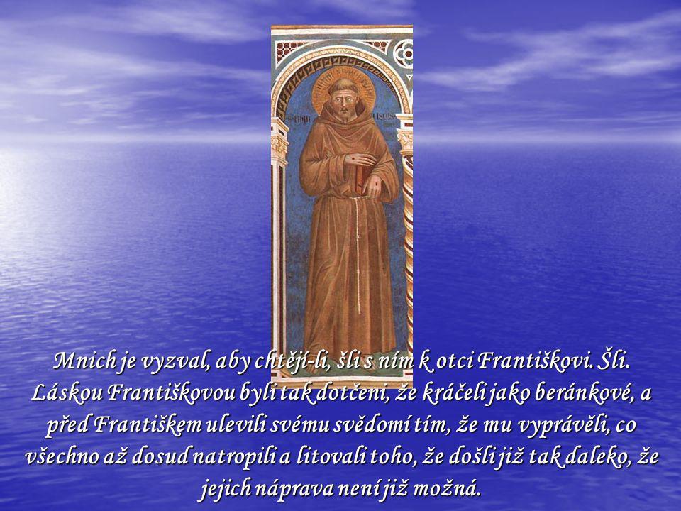 Mnich je vyzval, aby chtějí-li, šli s ním k otci Františkovi.