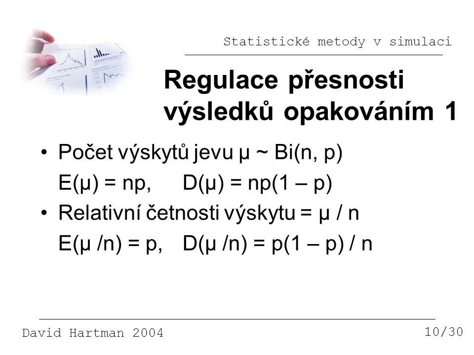 Statistické metody v simulaci David Hartman 2004 Regulace přesnosti výsledků opakováním 1 10/30 Počet výskytů jevu μ ~ Bi(n, p) E(μ) = np,D(μ) = np(1 – p) Relativní četnosti výskytu = μ / n E(μ /n) = p,D(μ /n) = p(1 – p) / n