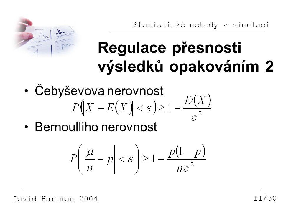 Statistické metody v simulaci David Hartman 2004 Regulace přesnosti výsledků opakováním 2 11/30 Čebyševova nerovnost Bernoulliho nerovnost
