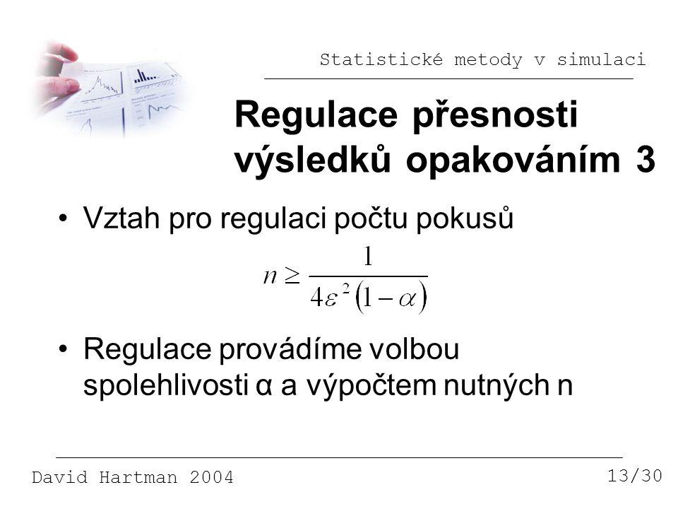 Statistické metody v simulaci David Hartman 2004 Regulace přesnosti výsledků opakováním 3 13/30 Vztah pro regulaci počtu pokusů Regulace provádíme volbou spolehlivosti α a výpočtem nutných n