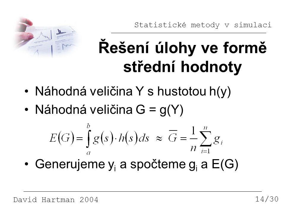 Statistické metody v simulaci David Hartman 2004 Řešení úlohy ve formě střední hodnoty 14/30 Náhodná veličina Y s hustotou h(y) Náhodná veličina G = g(Y) Generujeme y i a spočteme g i a E(G)