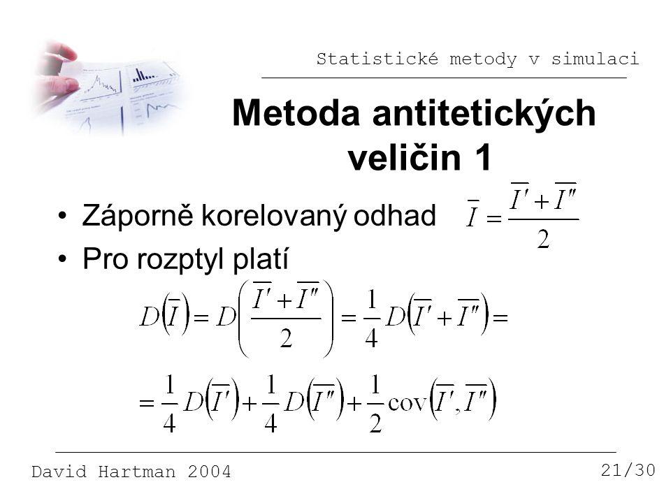 Statistické metody v simulaci David Hartman 2004 Metoda antitetických veličin 1 21/30 Záporně korelovaný odhad Pro rozptyl platí