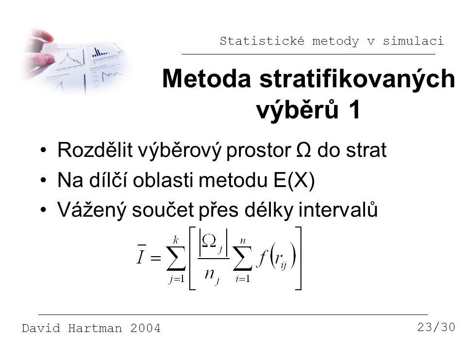 Statistické metody v simulaci David Hartman 2004 Metoda stratifikovaných výběrů 1 23/30 Rozdělit výběrový prostor Ω do strat Na dílčí oblasti metodu E(X) Vážený součet přes délky intervalů