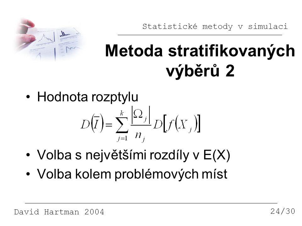 Statistické metody v simulaci David Hartman 2004 Metoda stratifikovaných výběrů 2 24/30 Hodnota rozptylu Volba s největšími rozdíly v E(X) Volba kolem problémových míst