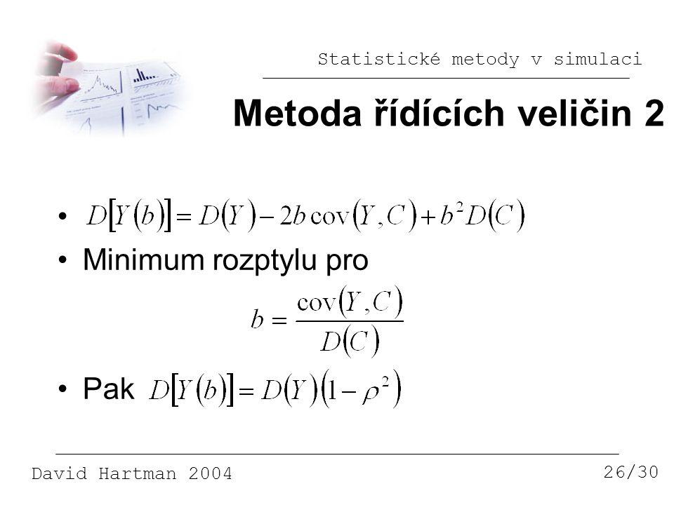 Statistické metody v simulaci David Hartman 2004 Metoda řídících veličin 2 26/30 Minimum rozptylu pro Pak