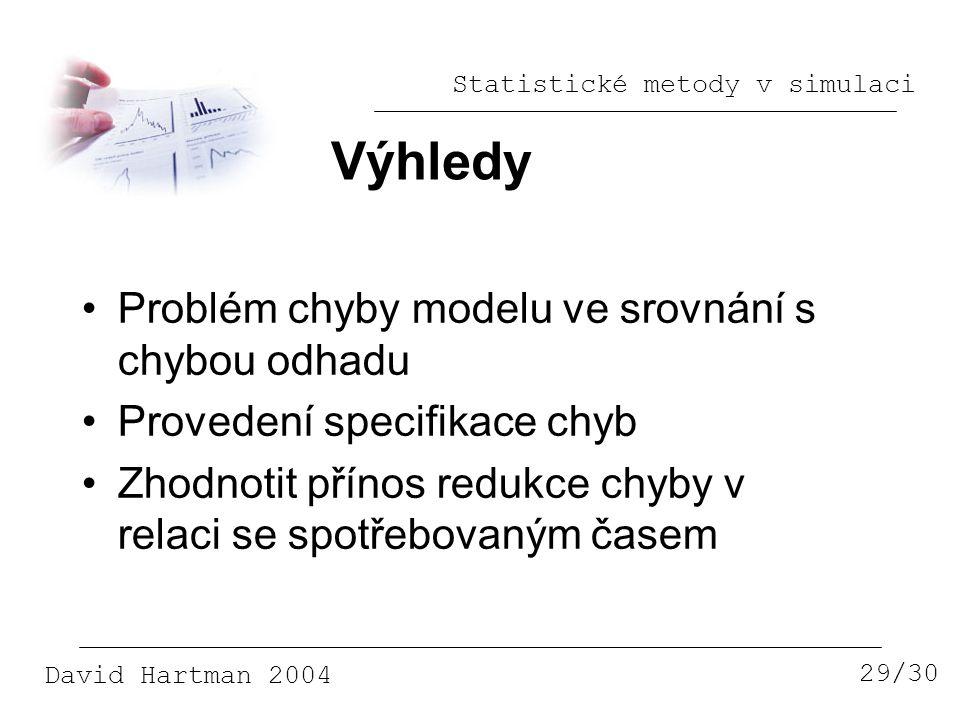 Statistické metody v simulaci David Hartman 2004 Výhledy 29/30 Problém chyby modelu ve srovnání s chybou odhadu Provedení specifikace chyb Zhodnotit přínos redukce chyby v relaci se spotřebovaným časem