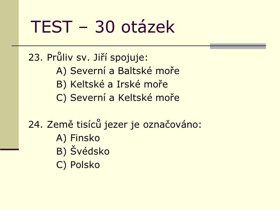 TEST – 30 otázek 23. Průliv sv.
