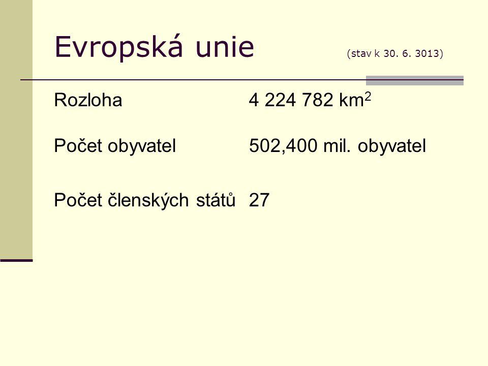 Evropská unie (stav k 30. 6. 3013) Rozloha4 224 782 km 2 Počet obyvatel502,400 mil.