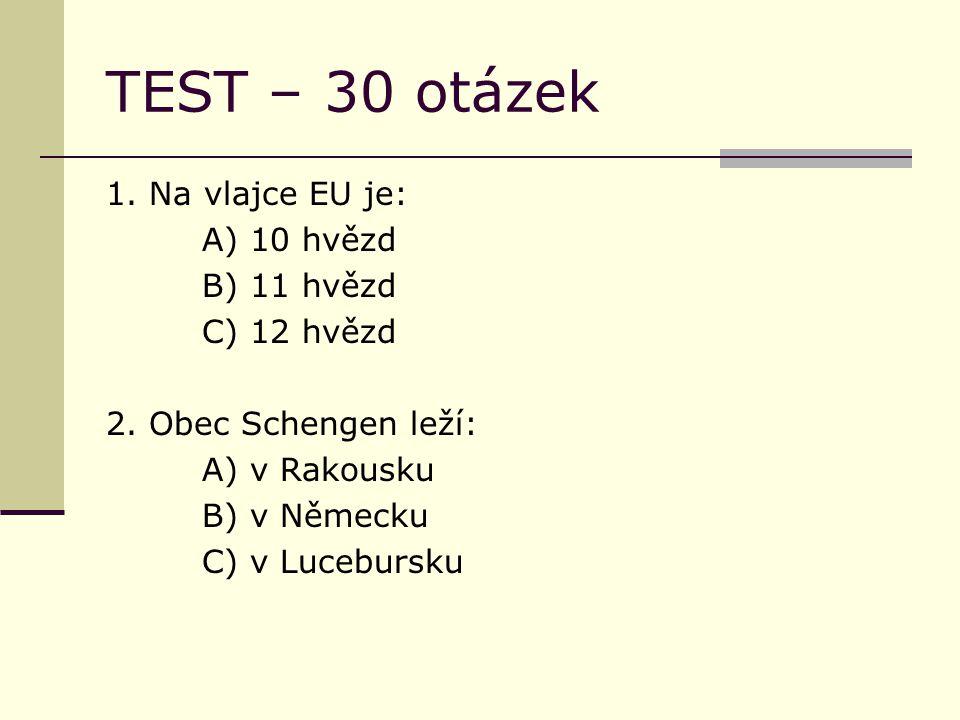 TEST – 30 otázek 1. Na vlajce EU je: A) 10 hvězd B) 11 hvězd C) 12 hvězd 2.