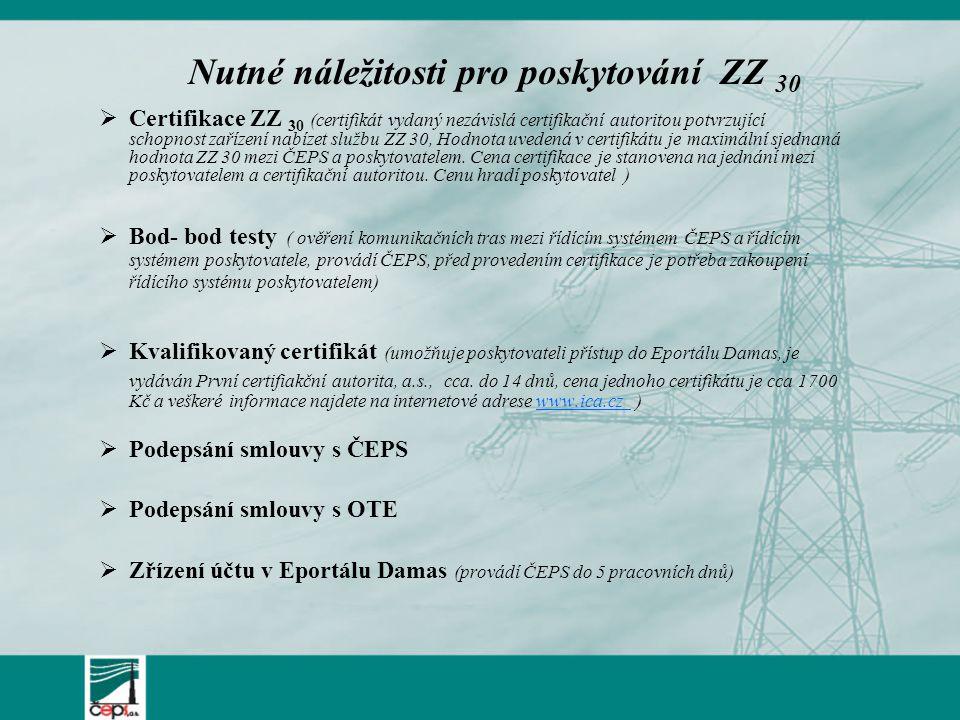  Certifikace ZZ 30 (certifikát vydaný nezávislá certifikační autoritou potvrzující schopnost zařízení nabízet službu ZZ 30, Hodnota uvedená v certifikátu je maximální sjednaná hodnota ZZ 30 mezi ČEPS a poskytovatelem.