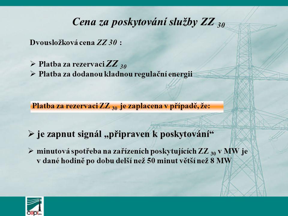 """ minutová spotřeba na zařízeních poskytujících ZZ 30 v MW je v dané hodině po dobu delší než 50 minut větší než 8 MW  je zapnut signál """"připraven k poskytování Cena za poskytování služby ZZ 30 Platba za rezervaci ZZ 30 je zaplacena v případě, že: Dvousložková cena ZZ 30 :  Platba za rezervaci ZZ 30  Platba za dodanou kladnou regulační energii"""