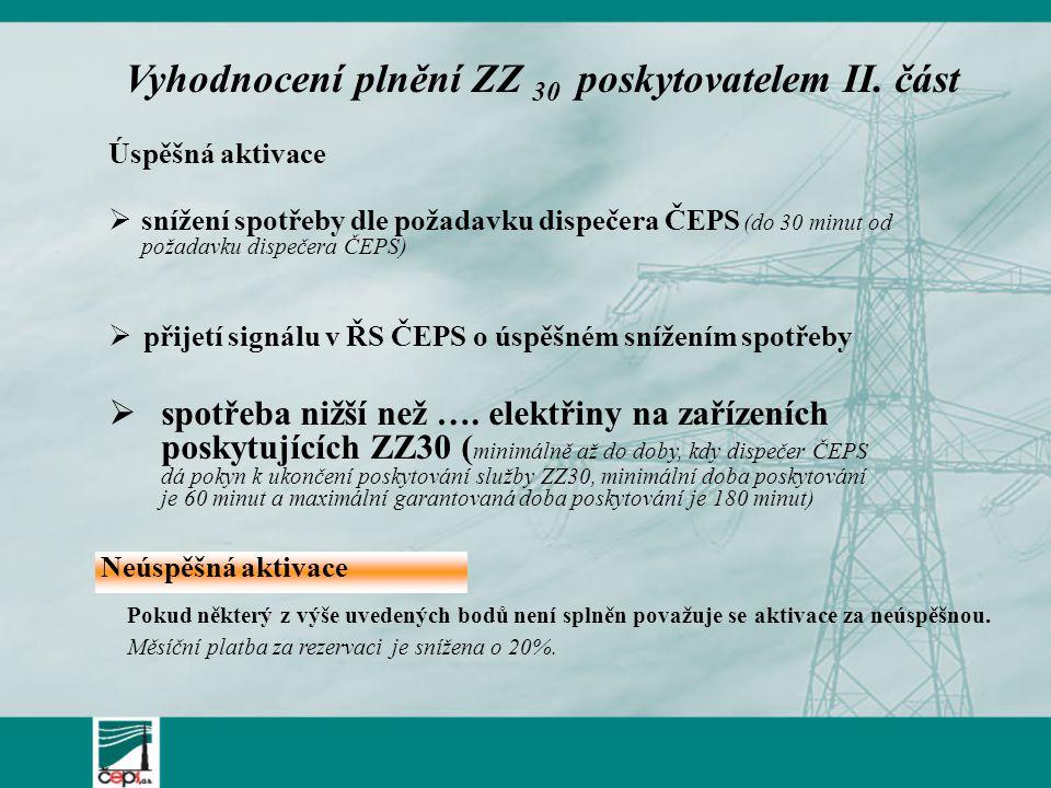  ČEPS předá poskytovateli vyhodnocení ZZ 30 (po skončení kalendářního měsíce nejpozději však 8.
