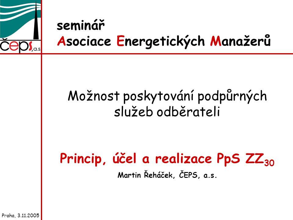 seminář Asociace Energetických Manažerů Možnost poskytování podpůrných služeb odběrateli Princip, účel a realizace PpS ZZ 30 Martin Řeháček, ČEPS, a.s.
