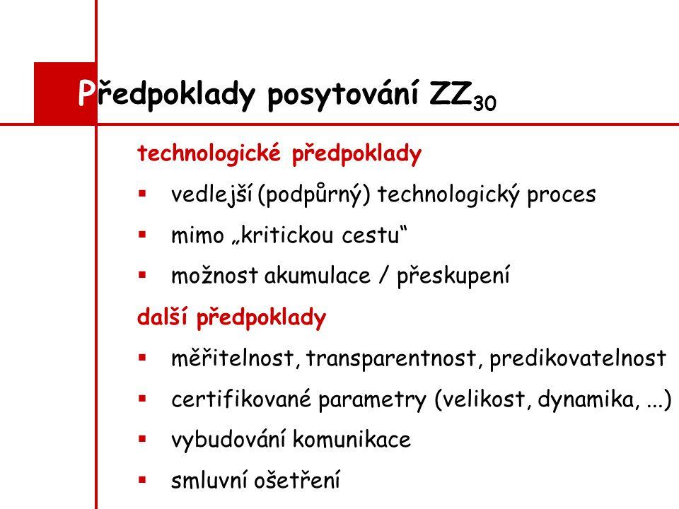 """technologické předpoklady  vedlejší (podpůrný) technologický proces  mimo """"kritickou cestu  možnost akumulace / přeskupení ředpoklady posytování ZZ 30 P další předpoklady  měřitelnost, transparentnost, predikovatelnost  certifikované parametry (velikost, dynamika,...)  vybudování komunikace  smluvní ošetření"""