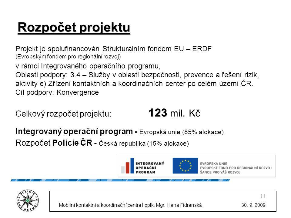 30. 9. 2009Mobilní kontaktní a koordinační centra l pplk. Mgr. Hana Fidranská 11 Rozpočet projektu Projekt je spolufinancován Strukturálním fondem EU