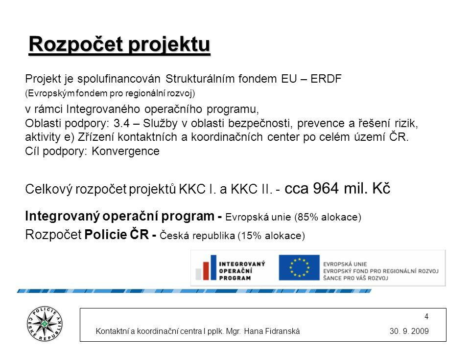 30. 9. 2009Kontaktní a koordinační centra l pplk. Mgr. Hana Fidranská 4 Rozpočet projektu Projekt je spolufinancován Strukturálním fondem EU – ERDF (E