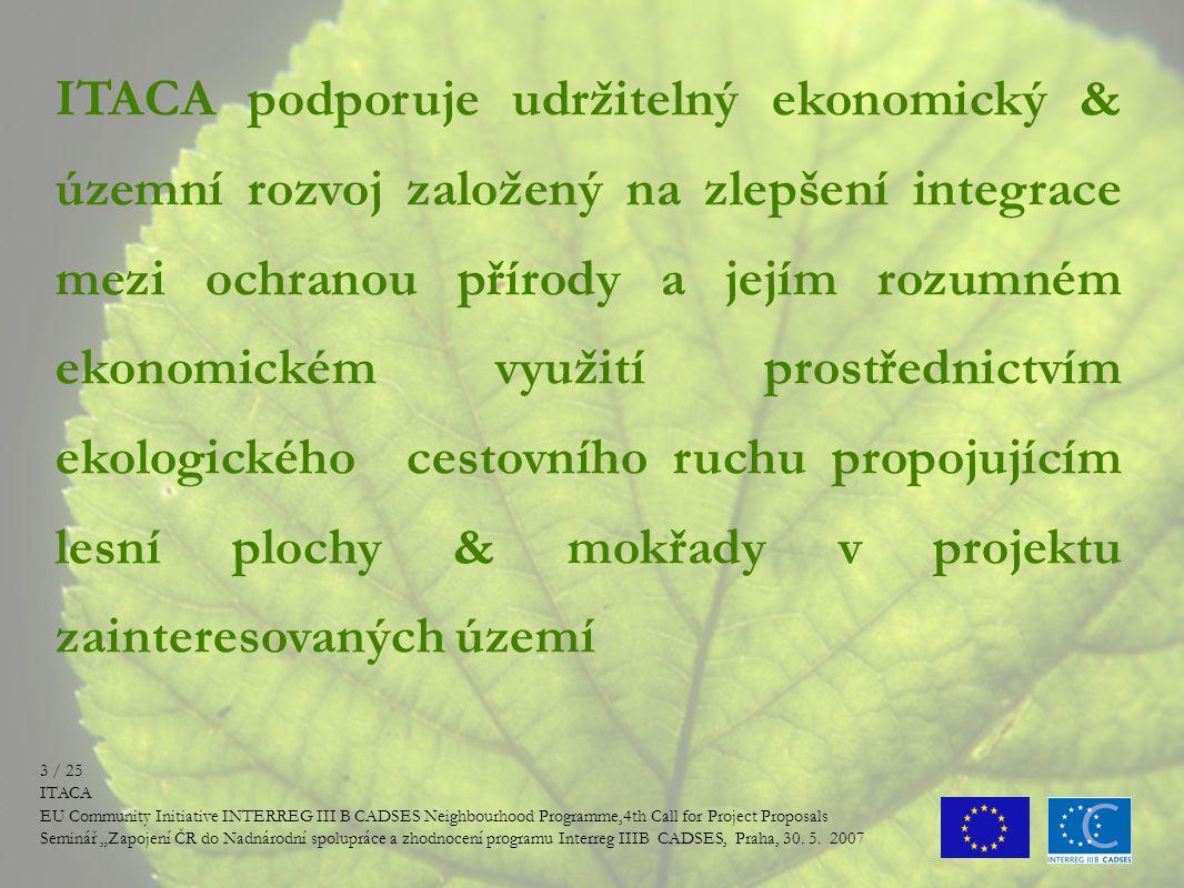 """OBSAH PRESENTACE - -Hlavní myšlenka projektu - -Partneři projektu - -Výstupy projektu (aktuální stav) - -Řízení projektu - -Problémy x úspěchy při řízení - -Budoucnost projektu 2 / 25 ITACA EU Community Initiative INTERREG III B CADSES Neighbourhood Programme,4th Call for Project Proposals Seminář """"Zapojení ČR do Nadnárodní spolupráce a zhodnocení programu Interreg IIIB CADSES, Praha, 30."""