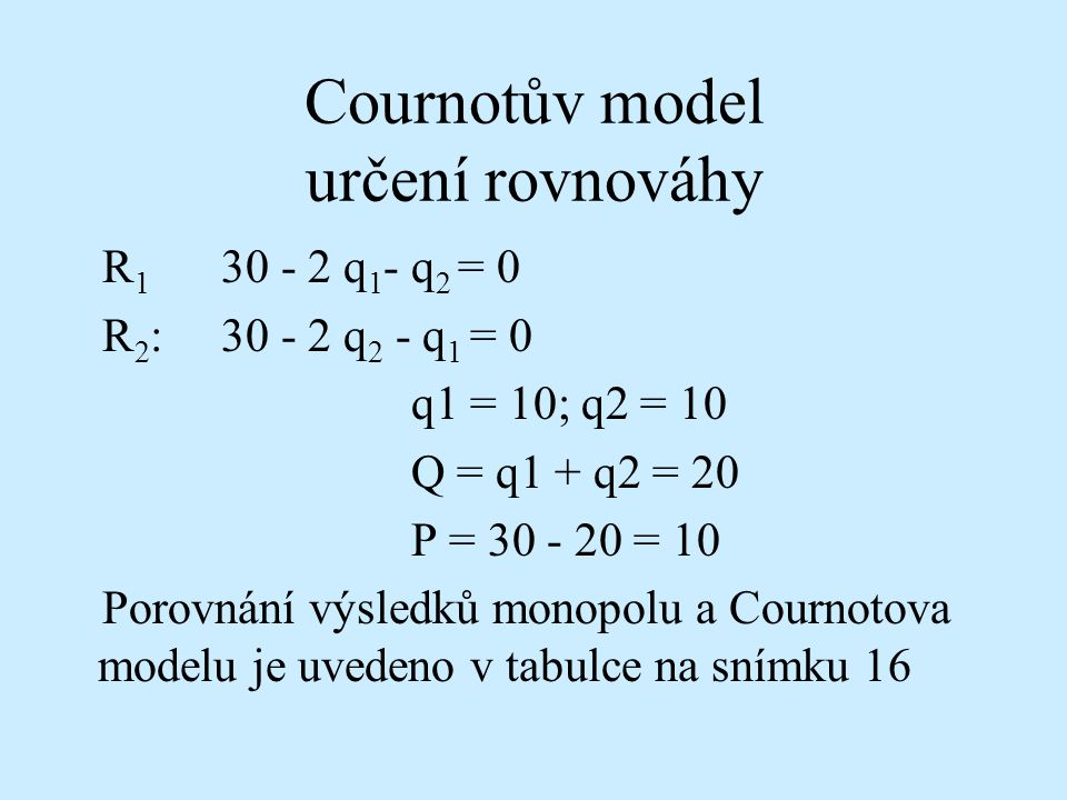 Cournotův model určení rovnováhy R 1 30 - 2 q 1 - q 2 = 0 R 2 : 30 - 2 q 2 - q 1 = 0 q1 = 10; q2 = 10 Q = q1 + q2 = 20 P = 30 - 20 = 10 Porovnání výsledků monopolu a Cournotova modelu je uvedeno v tabulce na snímku 16
