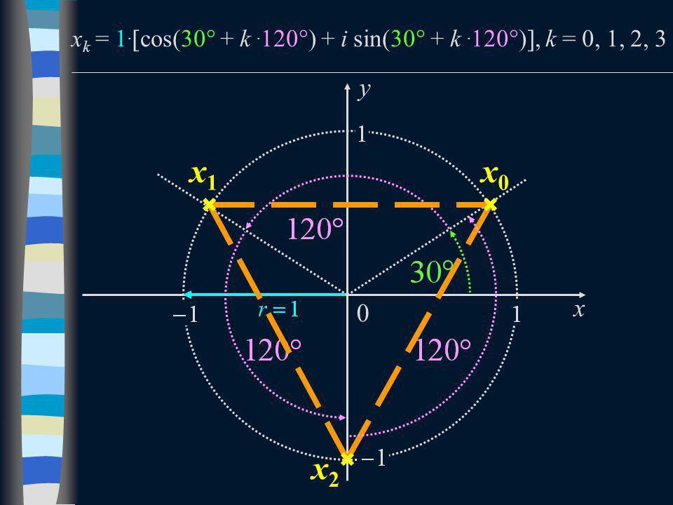 x k = 1.  cos(30  + k. 120  ) + i sin(30  + k. 120  ) , k = 0, 1, 2, 3 x y 0 x0x0 x1x1 x2x2