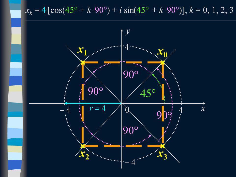 x k = 4.  cos(45  + k. 90  ) + i sin(45  + k. 90  ) , k = 0, 1, 2, 3 x y 0 x0x0 x1x1 x2x2 x3x3