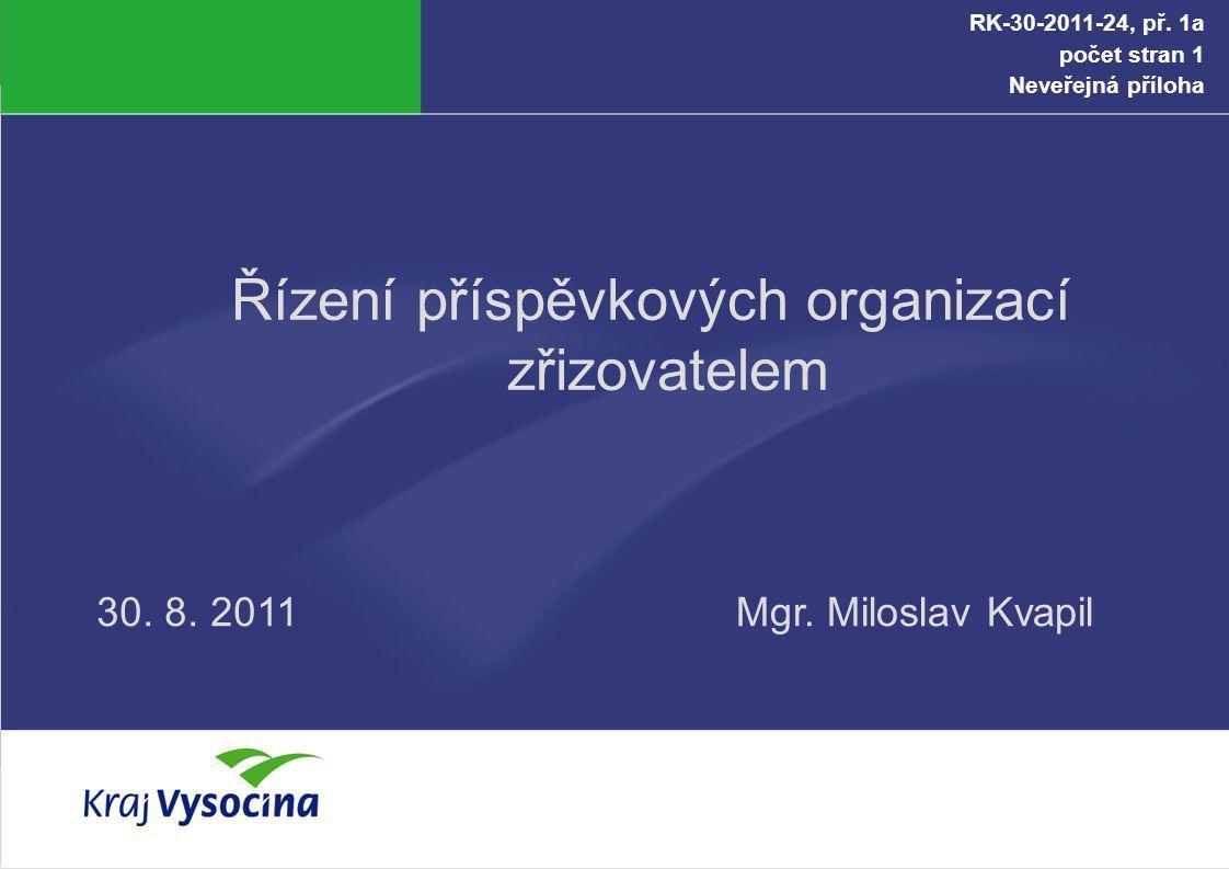 Řízení příspěvkových organizací zřizovatelem Mgr. Miloslav Kvapil30. 8. 2011 RK-30-2011-24, př. 1a počet stran 1 Neveřejná příloha