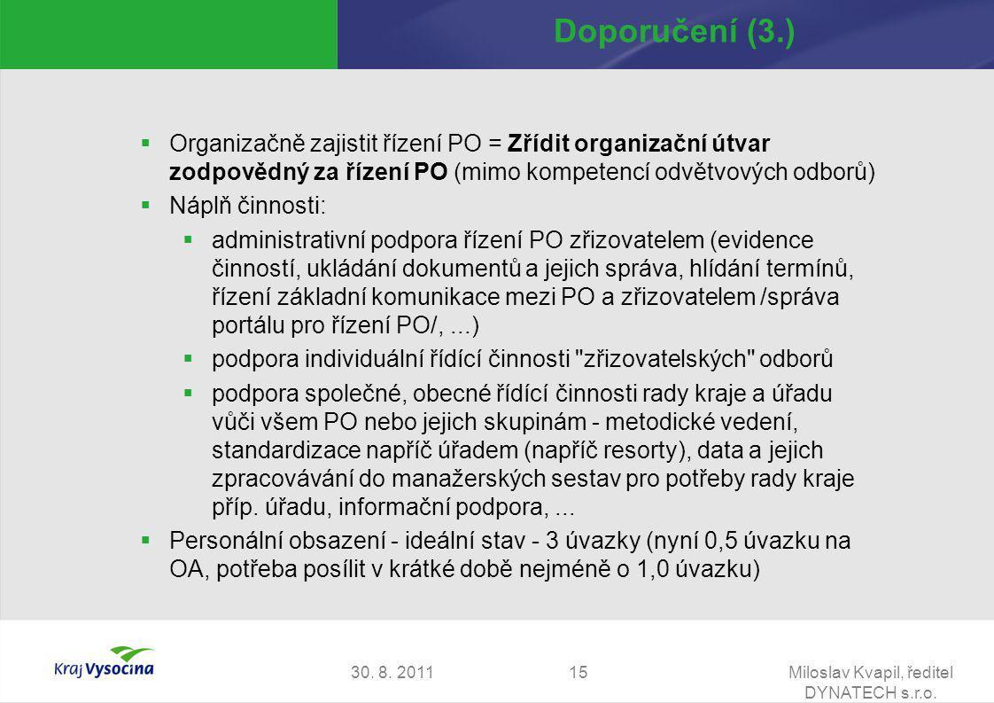 30. 8. 2011Miloslav Kvapil, ředitel DYNATECH s.r.o. 15 Doporučení (3.)  Organizačně zajistit řízení PO = Zřídit organizační útvar zodpovědný za řízen
