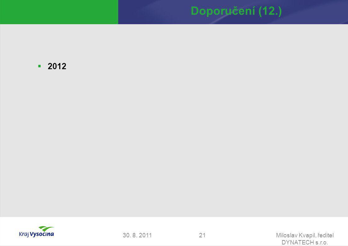 30. 8. 2011Miloslav Kvapil, ředitel DYNATECH s.r.o. 21 Doporučení (12.)  2012