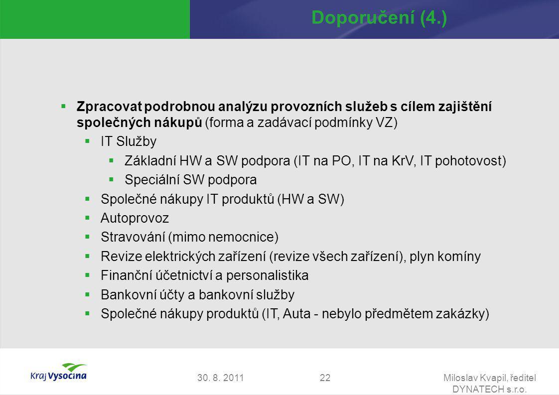 30. 8. 2011Miloslav Kvapil, ředitel DYNATECH s.r.o. 22 Doporučení (4.)  Zpracovat podrobnou analýzu provozních služeb s cílem zajištění společných ná