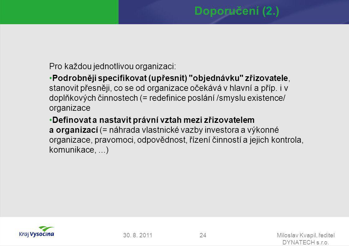 30. 8. 2011Miloslav Kvapil, ředitel DYNATECH s.r.o. 24 Doporučení (2.) Pro každou jednotlivou organizaci: Podrobněji specifikovat (upřesnit)