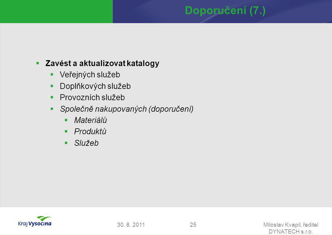 30. 8. 2011Miloslav Kvapil, ředitel DYNATECH s.r.o. 25 Doporučení (7.)  Zavést a aktualizovat katalogy  Veřejných služeb  Doplňkových služeb  Prov