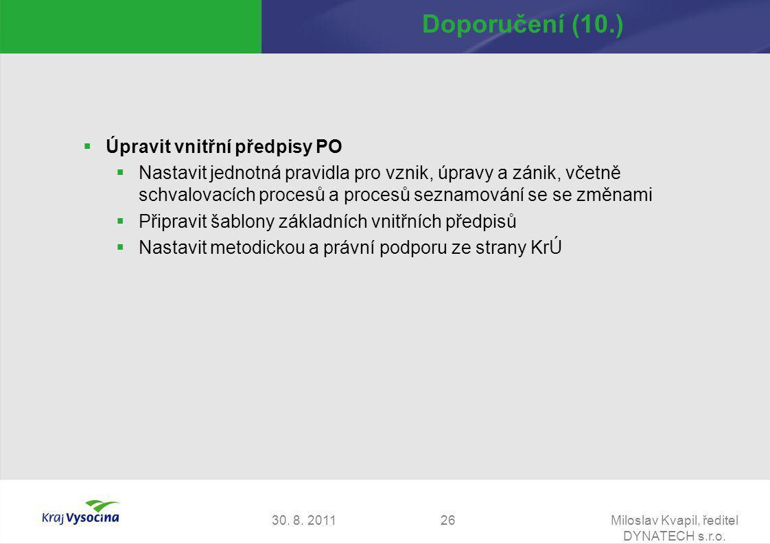 30. 8. 2011Miloslav Kvapil, ředitel DYNATECH s.r.o. 26 Doporučení (10.)  Úpravit vnitřní předpisy PO  Nastavit jednotná pravidla pro vznik, úpravy a