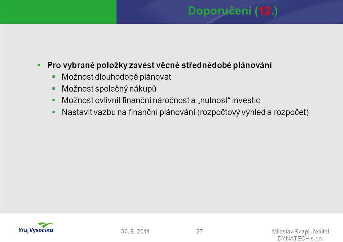 30. 8. 2011Miloslav Kvapil, ředitel DYNATECH s.r.o. 27 Doporučení (12.)  Pro vybrané položky zavést věcné střednědobé plánování  Možnost dlouhodobě