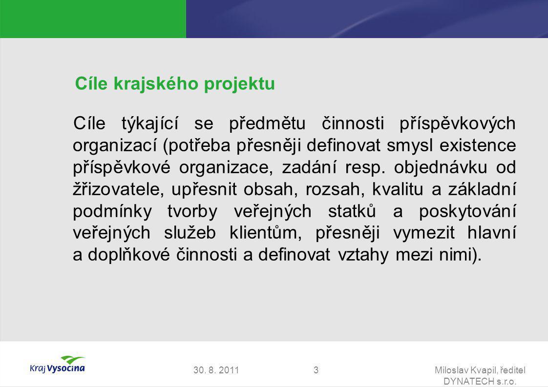 30. 8. 2011Miloslav Kvapil, ředitel DYNATECH s.r.o. 3 Cíle krajského projektu Cíle týkající se předmětu činnosti příspěvkových organizací (potřeba pře