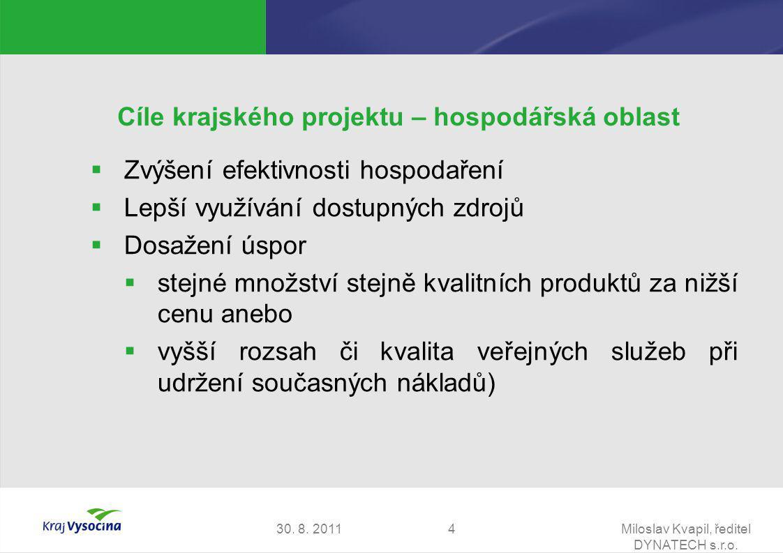 30. 8. 2011Miloslav Kvapil, ředitel DYNATECH s.r.o. 4 Cíle krajského projektu – hospodářská oblast  Zvýšení efektivnosti hospodaření  Lepší využíván