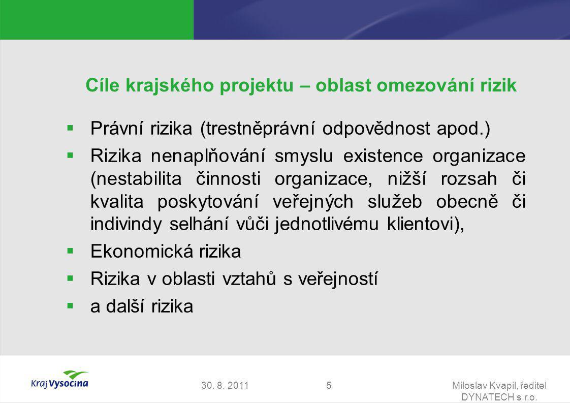 30. 8. 2011Miloslav Kvapil, ředitel DYNATECH s.r.o. 5 Cíle krajského projektu – oblast omezování rizik  Právní rizika (trestněprávní odpovědnost apod